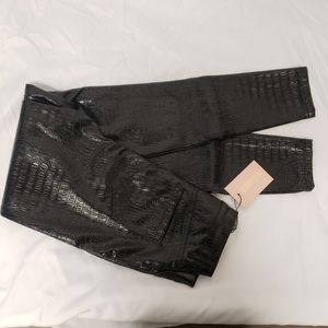 Misguided Black crock Leather Trousers